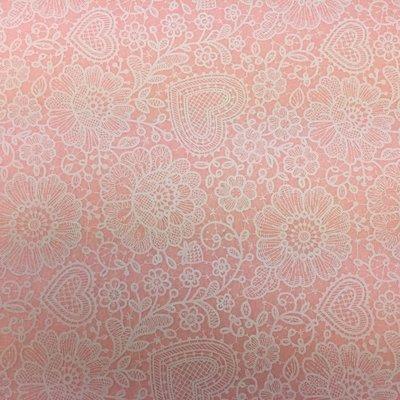 Vilt lap met kanten bloemen print roze 30 x 40 cm per lap