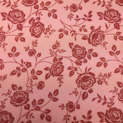 Vilt lapje rozen print roze 30 x 40 cm per lapje