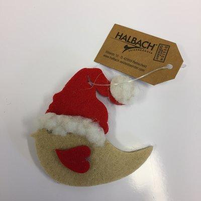 Vilt Kerst Vogel Beige/Rood, per stuk