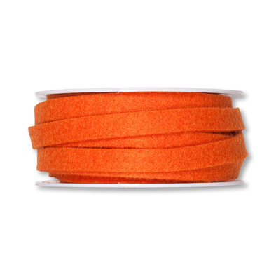 Vilt band 1 cm breed, Oranje, 5 meter op rol