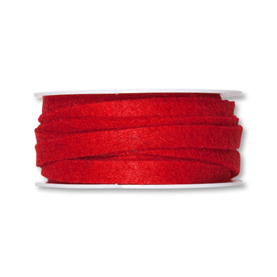 Vilt band 1 cm, Rood, 5 meter op rol