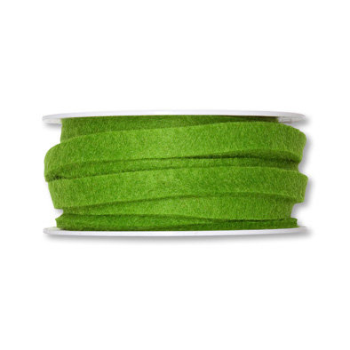 Vilt band 1 cm breed, Groen, 5 meter op rol