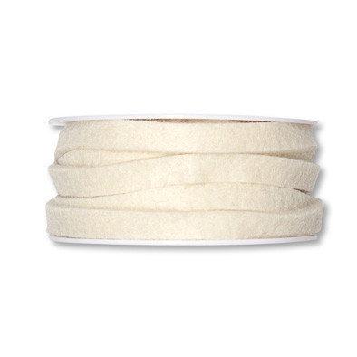 Vilt band 1 cm breed, Crème, 5 meter op rol