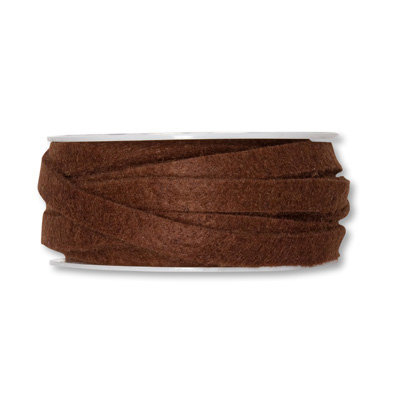 Vilt band 1 cm breed, Donker Bruin, 5 meter op rol