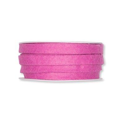 Vilt band 1 cm breed, Roze, 5 meter op rol