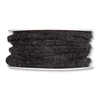 Vilt band 4 mm x 15 meter op rol, Donker grijs/ Zwart gemêleerd