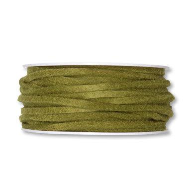 Vilt band 4 mm x 15 meter op rol, Olijf Groen