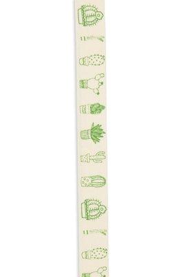 Band zelfklevend met cactus print groen 10 mm breed ca. 1 meter per zakje