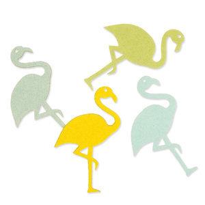Vilt flamingo`s groen geel tinten 4 stuks per zakje