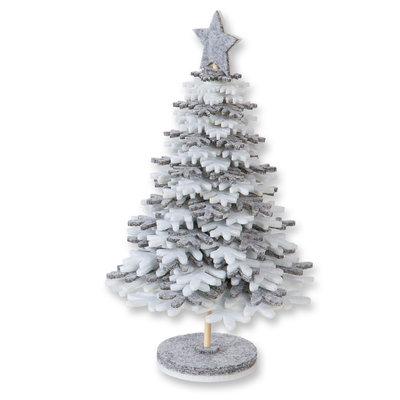 Vilt kerstboom grijs wit 21 cm hoog op voet