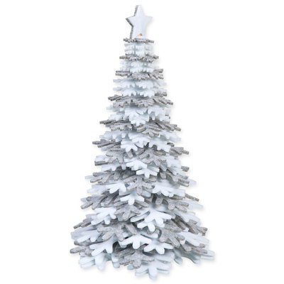 Vilt kerstboom grijs wit 28 cm hoog