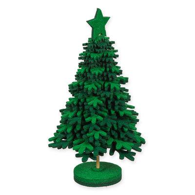 Vilt kerstboom donkergroen wit 21 cm hoog met voet