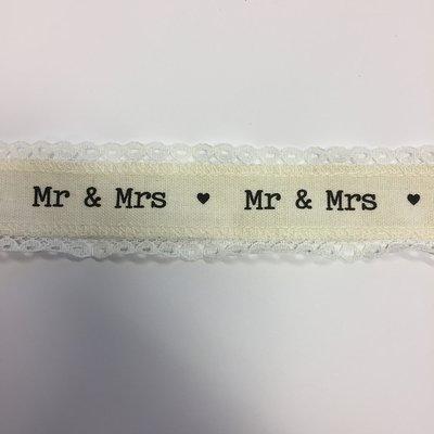 Lint met Mr & Mrs 4 cm breed 1 meter lang per zakje