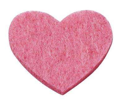 Vilt hartjes roze 12 stuks in een zakje