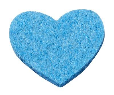 Vilt hartjes aqua blauw 12 stuks in een zakje