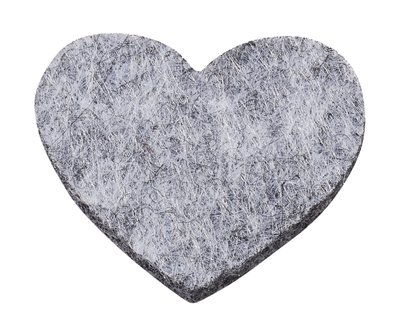 Vilt hartjes grijs gemeleerd 12 stuks in een zakje