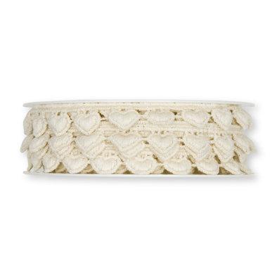 Kanten hartjes lint creme 1,5 cm breed 50 cm lang per stuk