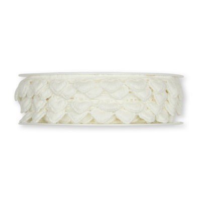 Kanten hartjes lint wit 1,5 cm breed 50 cm lang per stuk