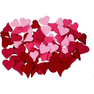 Vilt  hartjes assorti 16 stuks in een zakje