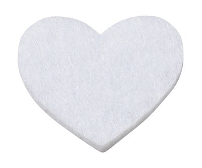 Vilt hartjes wit 12 stuks per doosje