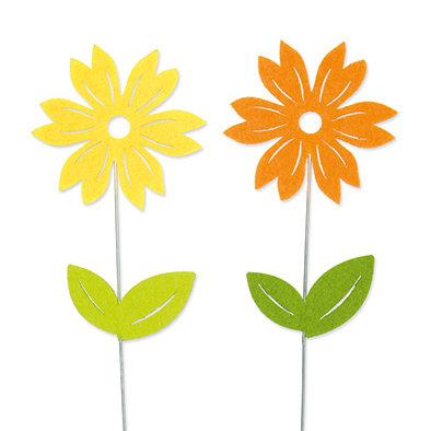 Vilt bloemetjes op steker 2 stuks per setje