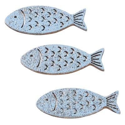 Hout vis zacht blauw zilver 4 cm 3 stuks per zakje