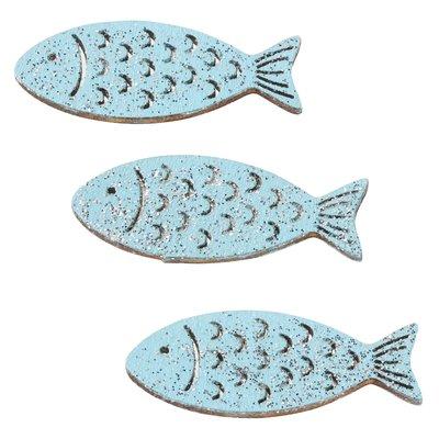 Hout vis turqoise zilver 4 cm 3 stuks per zakje