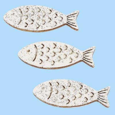 Hout vis wit zilver 4 cm 3 stuks per zakje