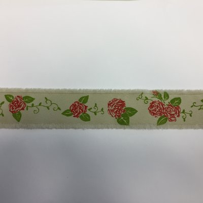 Lint zand met rode rozen print 3,5 cm breed 1 meter lang per zakje