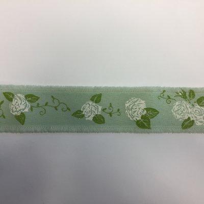 Lint mint met witte rozen print 3,5 cm breed 1 meter lang per zakje