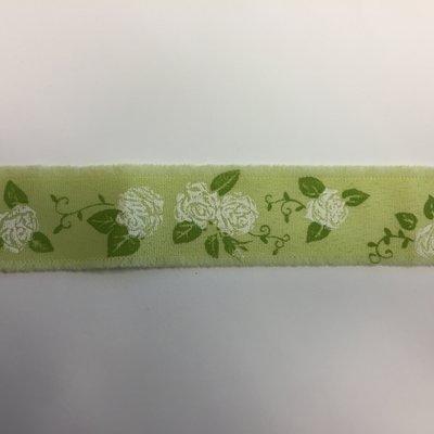 Lint groen met witte rozen print 3,5 cm breed 1 meter lang per zakje