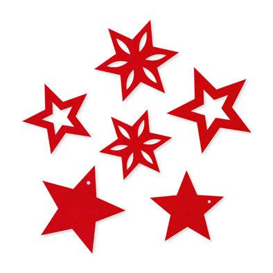 Vilt sterren rood 6 stuks per zakje