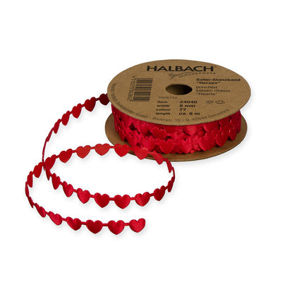 Satijn mini hartjes band rood 8 mm breed ca. 8 meter per rol