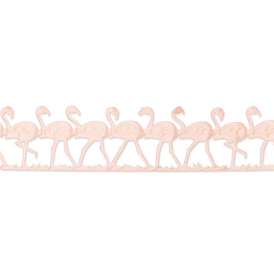 Satijn flamingo band roze 45 mm breed ca. 1 meter per zakje