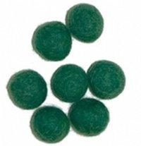 Vilt balletjes 15 mm, Donker Groen, 10 st.