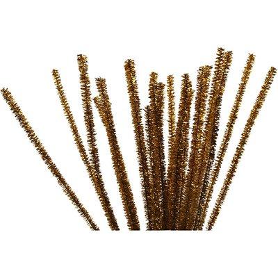Chenille draad goud 6 mm doorsnee 30 cm lengte 24 stuks per zak