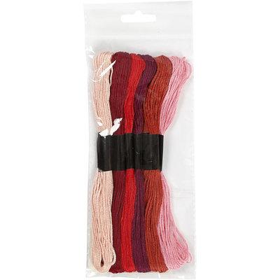 Borduurgaren rood tinten 7 strengen set