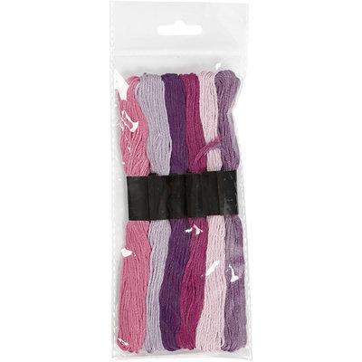 Borduurgaren paars roze tinten 7 strengen set