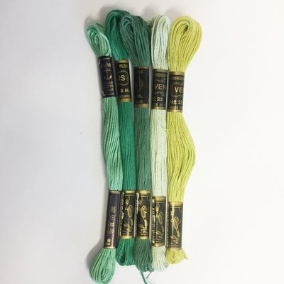 Borduurgaren setje groen kleuren