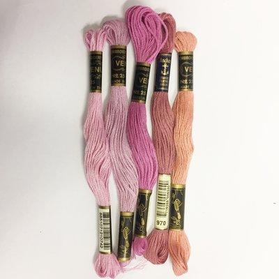 Borduurgaren setje roze tinten
