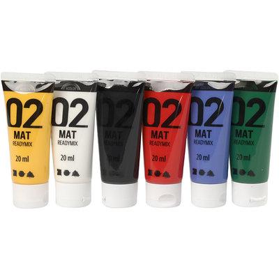 Mat readymix verf 6 flacons 20 ml set
