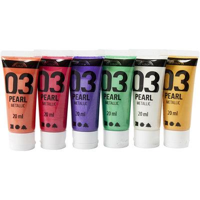Pearl metallic verf 6 flacons 20 ml set