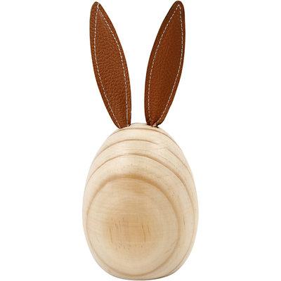 Houten konijn met leren oren hoogte 19 cm doorsnee 7,9 cm per stuk
