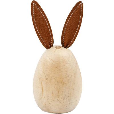Houten konijn met leren oren hoogte 13 cm doorsnee 6 cm per stuk