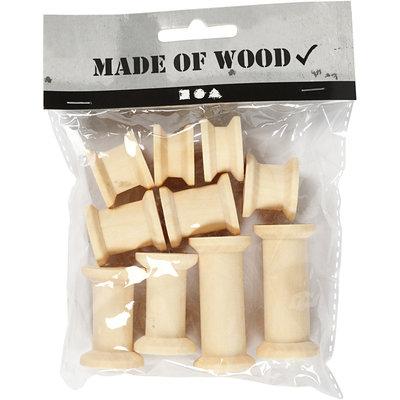 Houten klosjes diverse 10 stuks per zakje
