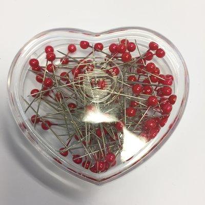Parelspelden rood 6 mm doorsnee, 40 mm lang ca. 120 stuks per bakje