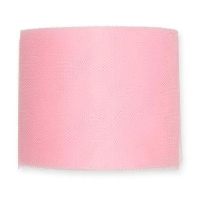 Tule, 7,5 cm x circa 50 meter op rol, Baby Roze