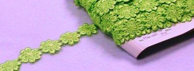Kant bloemen lime groen 20 mm breed