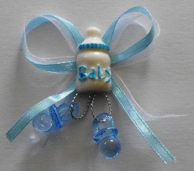 Baby fles op strik blauw per stuk