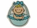 Houten baby decoratie blauw 3 x 3,5 cm 5 stuks per zakje